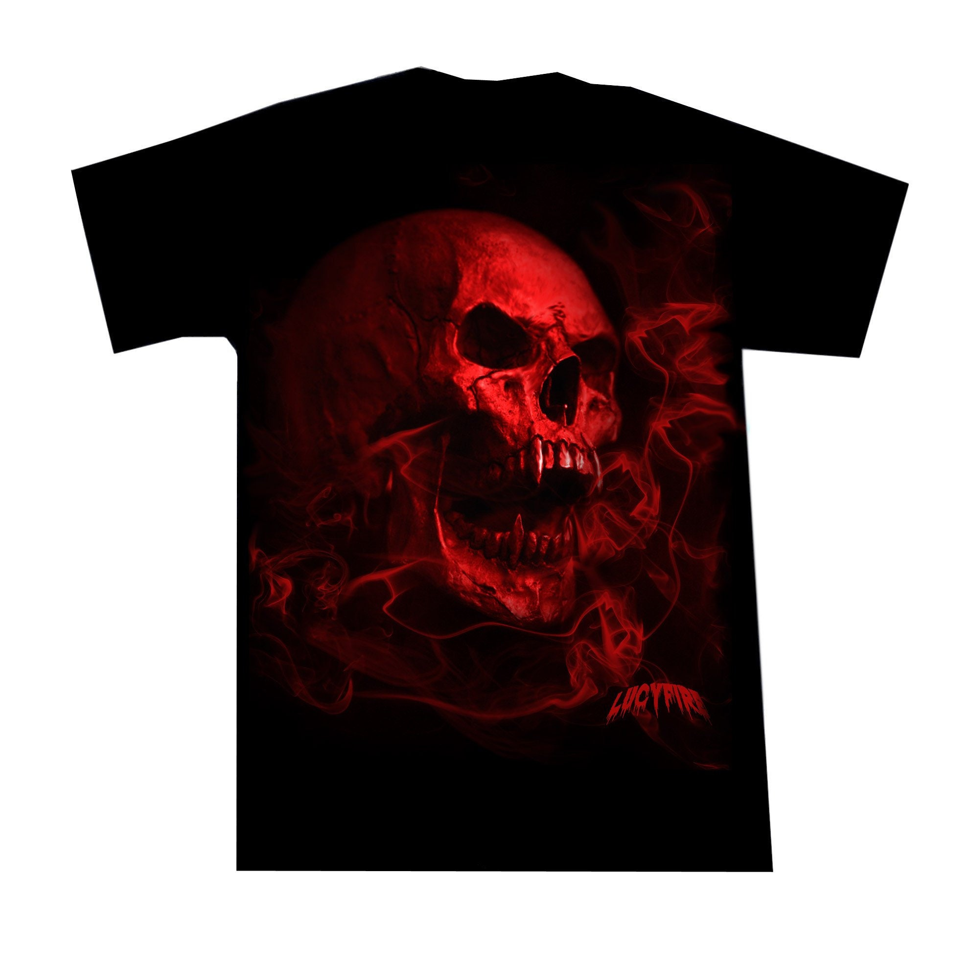 e58326077d870 Heavy Metal T Shirt Smoky Red Vamp Skull