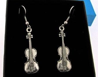Violin Silver Pewter Earrings
