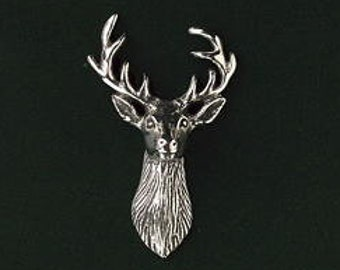 "RED STAG ANTLER /""Birds,Animals Nature/"" Hand Made in UK Pewter Lapel Pin Badge"