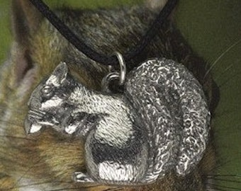 Squirrel Pendant On A Waxed Cord