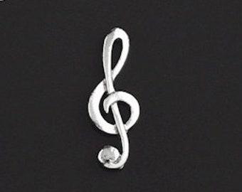 Musical Bass Clef Hand-Crafted English Pewter Badge free UK postage