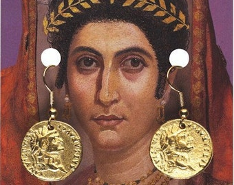 Roman Gold Plated Coin Earrings