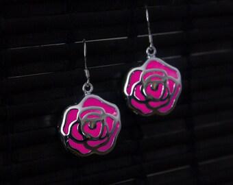 GLOW in the DARK Earrings - Pink Flowers - Glowing Jewelry - Glowing Earrings - Glow in the Dark Flowers - Pink Rose - Pink Glowing - Flower