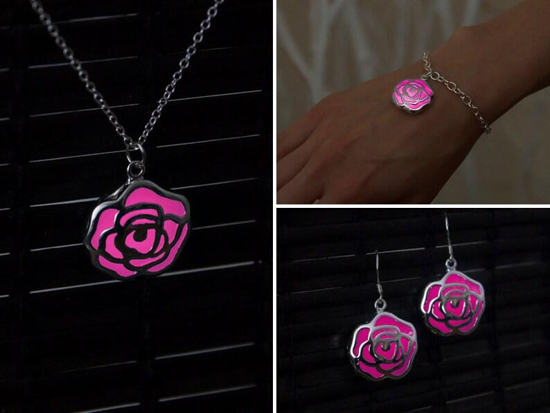 ab92d213c3eb CONJUNTO rosa rosa joyería flor color de rosa joyas novia