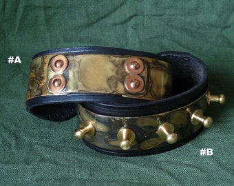 SCKLeather Handmade Patinated Brass Copper Riveted Bracelets set in Veg Tan leather.