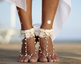 11d9b61cea0 Boho dance of pearls and lace beach wedding barefoot sandals