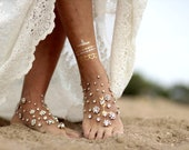 Glowing flowers barefoot sandal, beach wedding barefoot sandals,footcuff, wedding anklet,nude shoes,ankle cuff