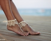 Barefoot sandal Dance of the pearls with frilly guipure beach wedding barefoot sandals, wedding anklet,nude shoes,boho sandal,cuff