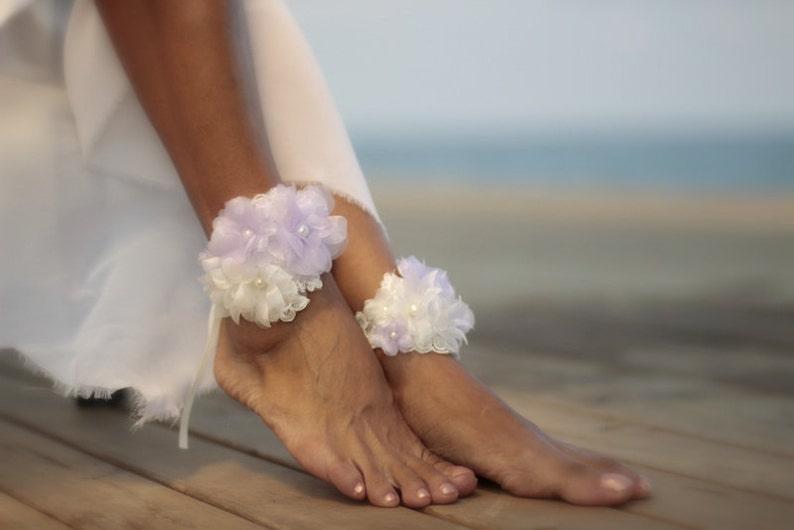 f9f6bfe31aeb Lilac bouquet barefoot sandal beach wedding barefoot sandals