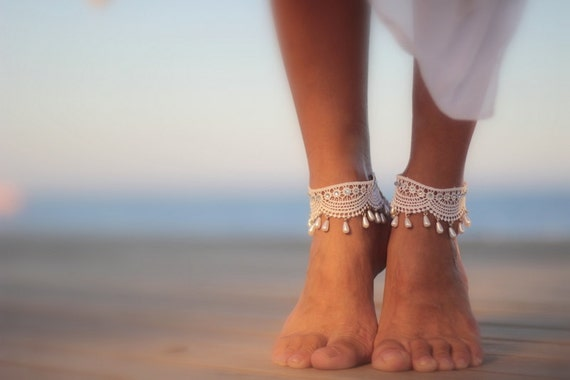 Shoes barefoot ankle Sandal Beach boho cuffAnklet Droplets Wrapped Cuff In Wedding SandalsBangle Sandal Barefoot Guipure nude ZuOPXki