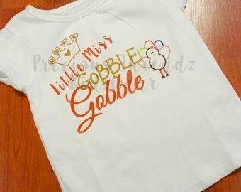 Little Miss Gobble Gobble Thanksgiving Onesie or Shirt