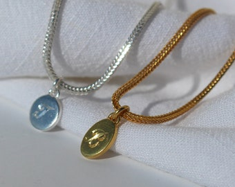 Handmade personalized Hand Stamped Initial letter necklace, made of silver 925 , ARIA   lottejewelry