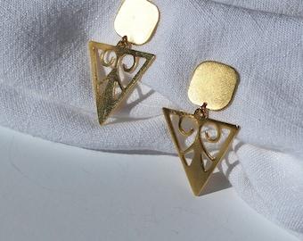 Handmade triangle sterling silver earrings , ALKMINI Lottejewelry