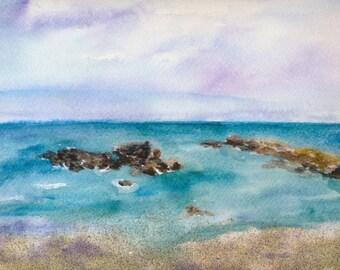 Half Moon Bay. Original Watercolor painting. FRAMED