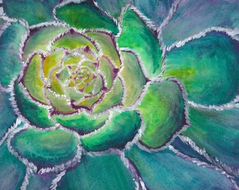 Green Flower. Original Acrylic Painting. FRAMED