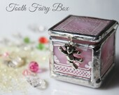 Tooth fairy keepsake box for girls, Unique baby tooth keepsake, Hand painted pink glass box, Baptism gift for her, First tooth memory box