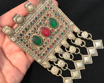 Turkmen Pendant,Vintage Pendant,Tribal Necklace,Statement Pendant Necklace,Boho jewelry,Nomadic Pendant,Hundmade Pendant,Gift For