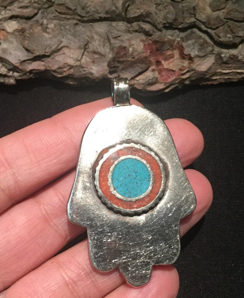 CLEARANCE! Hamza pendant-Hands Of Fatima Pendant-Vintage Pendant Statement Jewelry Tribal ethnic Turquoise Jewelry-Hand pendant