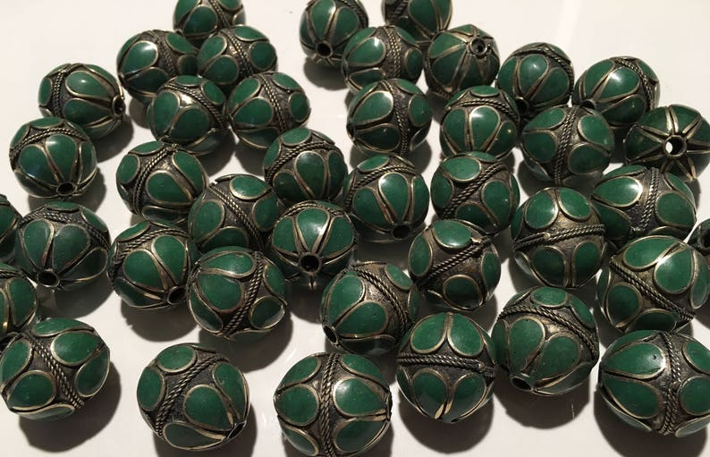 4PCS Vintage beads-Green Blue Beads HandmadeEnameled Beads-Necklace Parts,Vintage Finding,Vintage Bead Supplies-Vintage Shop-Jewelry