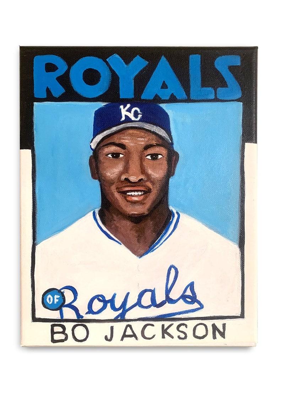 Bo Jackson Royals Topps Baseball Card Painting