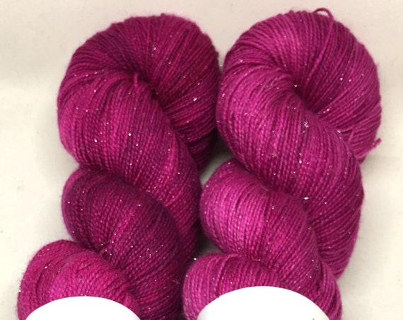 Hand Dyed Sparkle Yarn_Fingering Weight_100 grams - Bumble Berry
