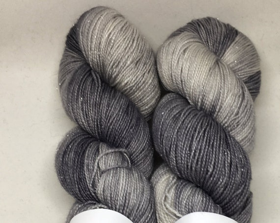 Hand Dyed Sparkle Yarn_Fingering Weight_100 grams - Steel