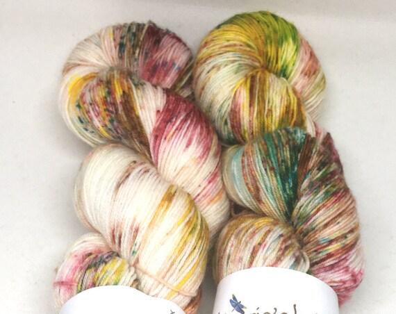 Hand Dyed Superwash Merino Blend Sock Yarn_Tea Party