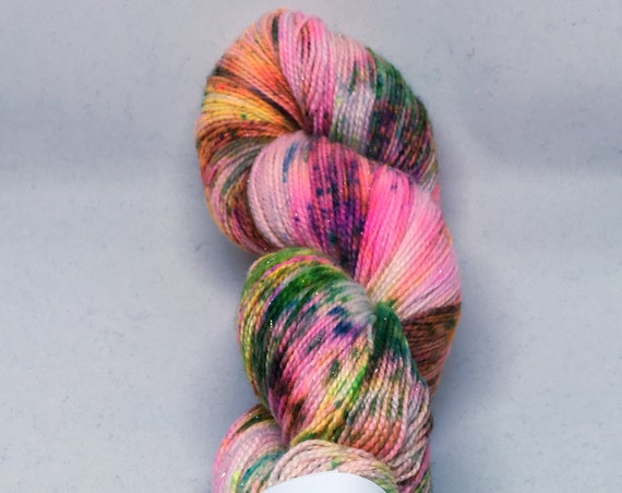 Hand Dyed Sparkle Yarn_Fingering Weight_100 grams - Material Girl