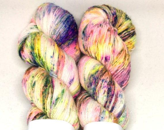 Hand Dyed Sparkle Yarn_Fingering Weight_100 grams - Cosmic
