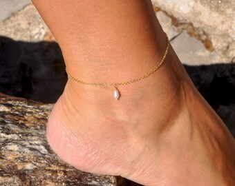 White Tiny pearls 9.5 inch Bride Anklet 120 Gold Filled 14K Lightweight  Bride Anklet chain brac