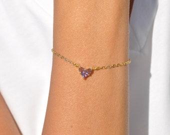 mini heart small minimalist gift for her crystal bracelet cubic zirconia heart charm Dainty heart bracelet cz heart gold love bracelet