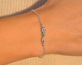 Friendship bracelet Minimalist jewelry Bracelets Gold seahorse charm Cord tie bracelet Seahorse bracelet Jewelry Dainty bracelet