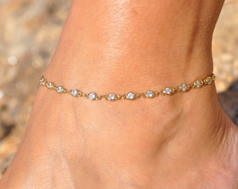 Diamond Flower Anklet Gold Diamond Anklet Gifts for Her Custom Tiny Dainty Minimalist Resin Charm Anklet Real Pressed Flowers