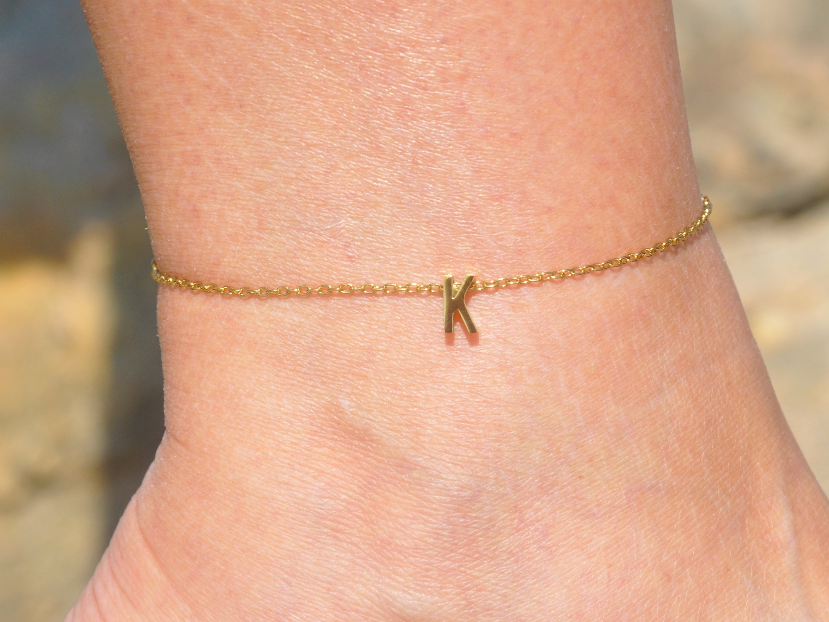 Personalized Birth Stone Silver Anklet Gift Silver Initial Ankle Bracelet Love Anklet