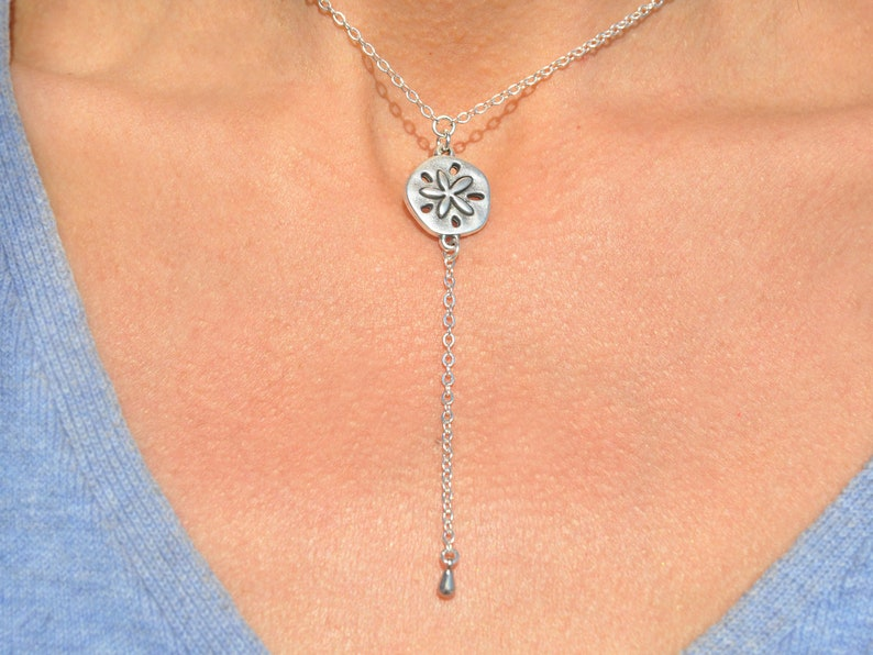 Bridesmaid SSM-527 Silver Sand Dollar Drop Necklace Delicate Sand Dollar Lariat Necklace Beach Wedding Gift for Her Silver Y Necklace