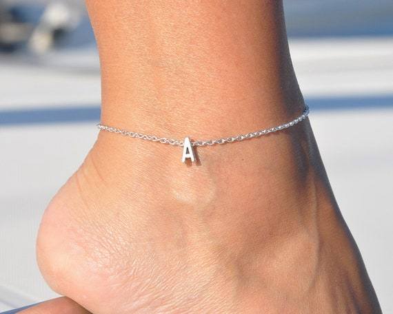 Anklet With Initial Silver Plated Ankle Bracelet Letter Etsy