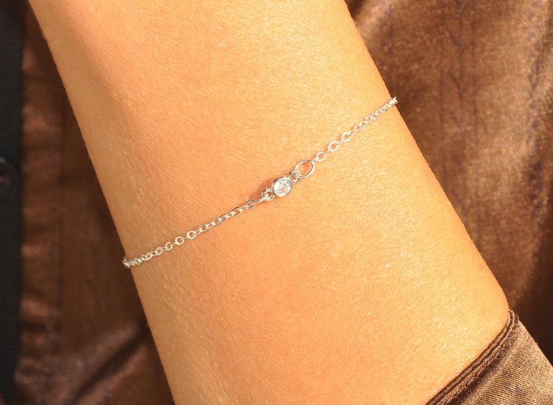 Dainty Cubic Zirconia Diamond Delicate Simple Gift Minimalist Jewelry Sterling Silver Tiny CZ Diamond Bracelet Solitaire Bracelet
