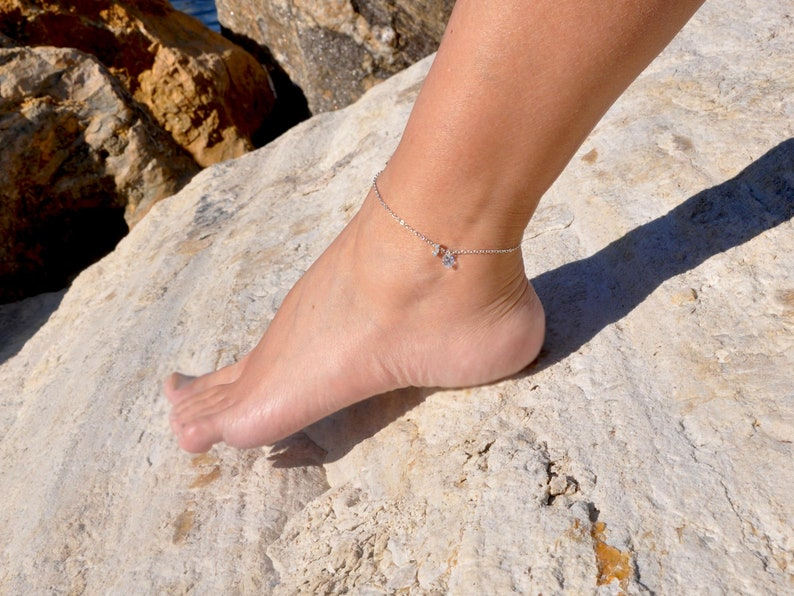 Boho Beach Jewelry Custom Initial Ankle Bracelet Sterling Silver Initial Anklet with Cubic Zirconia Stone Personalized Tiny Letter Anklet