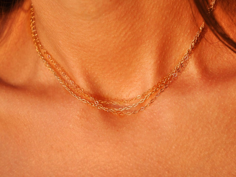 Mixed Metal Necklace Dainty Chain Three Color Necklace Layering Multi Color Necklace Gold Silver Rose Gold Short Chain Choker Necklace