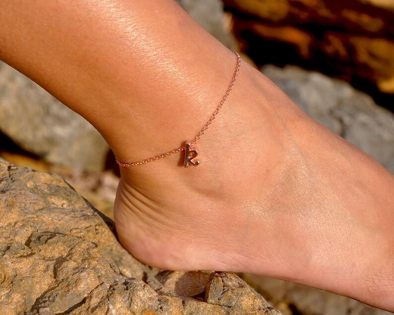 21179aa13 Rose Gold Initial Anklet Cursive Letter Ankle Bracelet