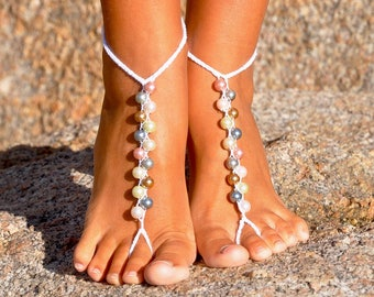 Pearl Foot Jewelry Bohemian Wedding Shoes Beach Wedding Sandals Bridesmaid Gift Beaded Sandals Destination Wedding Barefoot Sandals