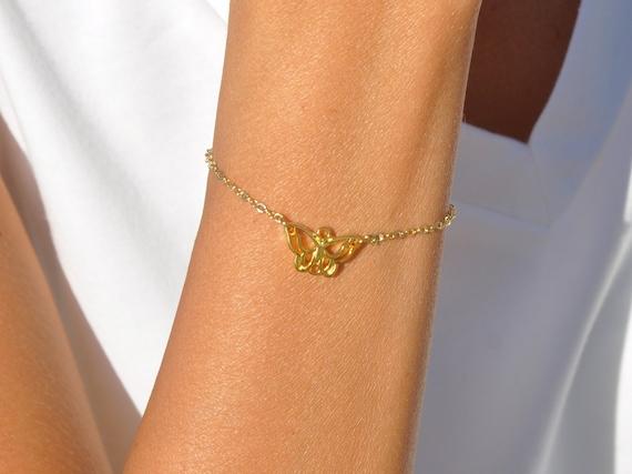 Personalized Swan Butterfly BraceletCustomized Birthstone BraceletGold filled BraceletDelicate Gold BraceletGold filled Initial Bracelet