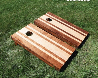 Striped Stained Cornhole Game with Bags