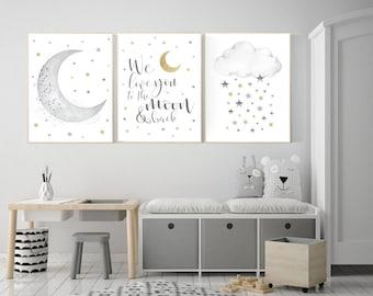 Nursery Moon Scandinavian Print Minimal Nursery Stars Nursery Quote Print Baby Shower Gift Nursery Prints Nursery Wall Art Baby Gift