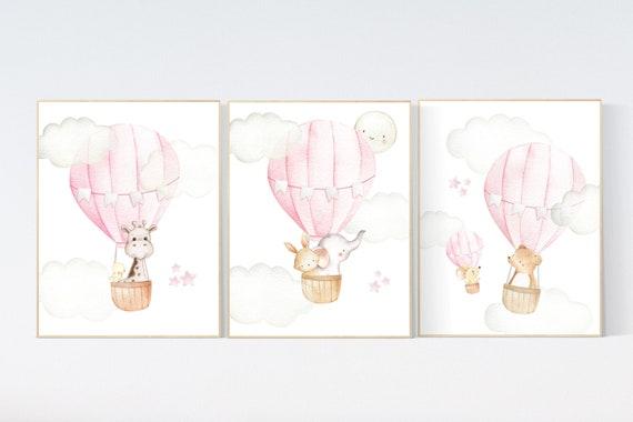 Nursery decor girl woodland, hot air balloon nursery, nursery decor woodland animal, hot air balloon nursery animal, pink nursery print