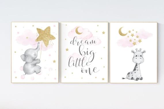 Nursery wall art girl, baby room decor girl gold and pink, giraffe nursery, dream big little one, cloud and stars, elephant nursery wall art