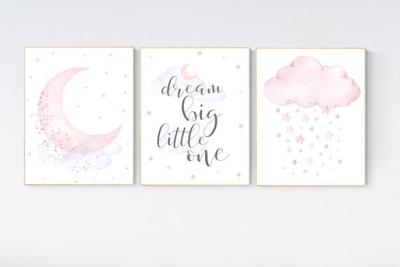 Nursery decor girl, purple and pink, lilac and pink, nursery wall art, baby girl nursery, moon and stars, moon nursery, dream big little one