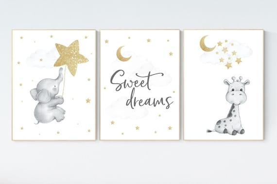 Nursery wall art gold, gold gray nursery, nursery decor neutral, baby room decor girl, moon and stars, baby room decor, giraffe nursery