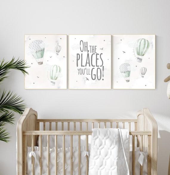 Nursery decor gender neutral, sage green, hot air balloon, green nursery, baby room decor, nursery prints, travel theme nursery, adventure