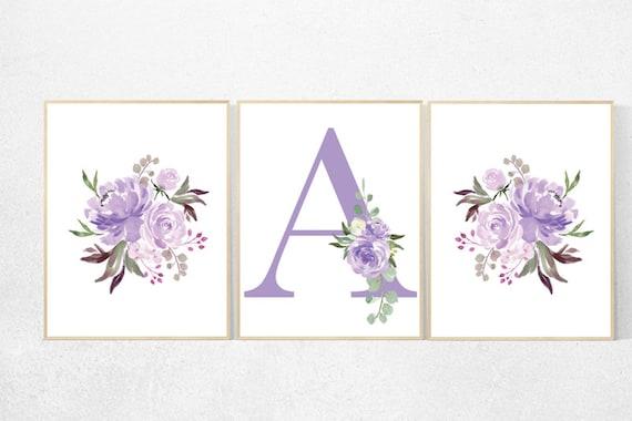 Purple flower nursery decor, Nursery decor girl purple, nursery decor girl flower, lavender nursery, lilac nursery, girls room decor purple